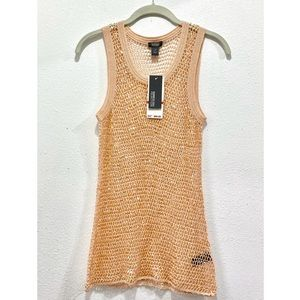 KENNETH COLE New Linen Mesh Sequin Tank Top XS